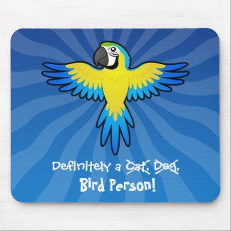 Definitivamente una persona del pájaro (macaw/loro tapetes de raton