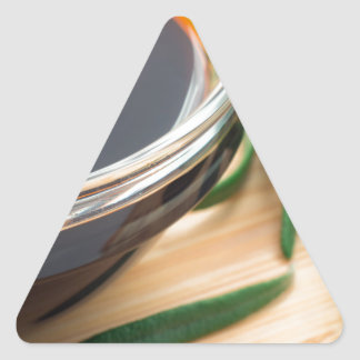Defocused and blurred image of soy sauce triangle sticker