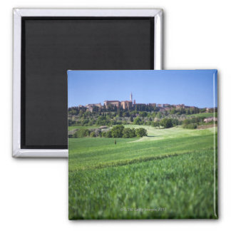 defocused grainfield with on pienza, tuscany, 2 inch square magnet