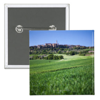 defocused grainfield with on pienza, tuscany, button