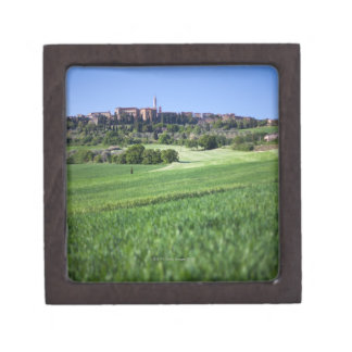 defocused grainfield with on pienza, tuscany, gift box