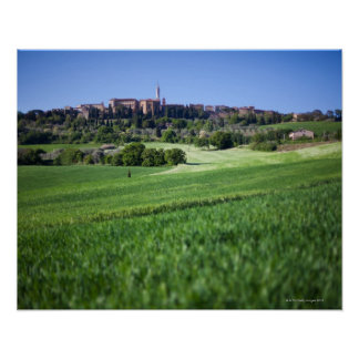 defocused grainfield with on pienza, tuscany, poster
