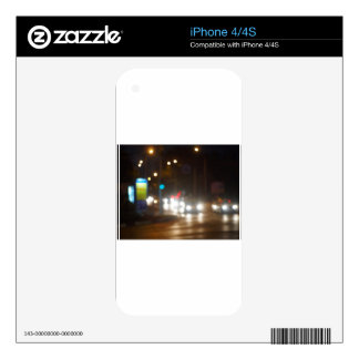 Defocused lights on the stream of cars and traffic decal for iPhone 4