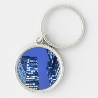 Defocused upward view of office building windows key chains