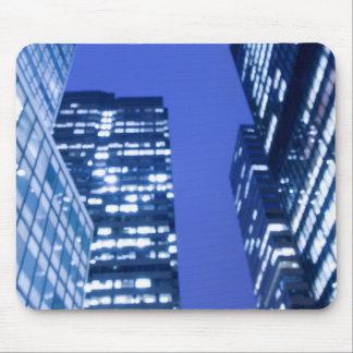 Defocused upward view of office building windows mouse pad