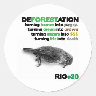 Deforestation Rio +20 Classic Round Sticker