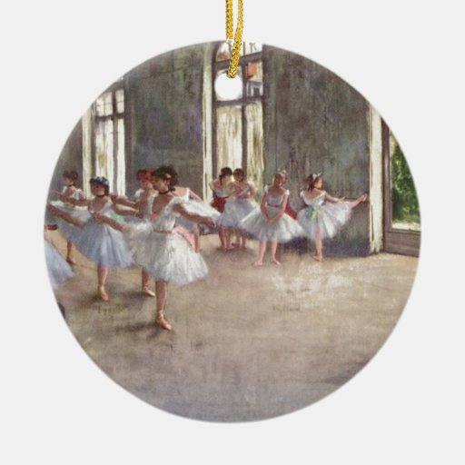 Degas Ballet Dancers Double-Sided Ceramic Round Christmas Ornament