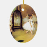Degas Ballet Dancers Double-Sided Oval Ceramic Christmas Ornament