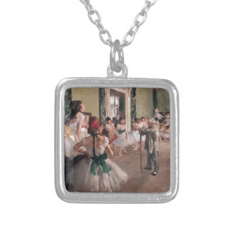 Degas Ballet Painting, Old Ballet class Silver Plated Necklace
