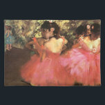 """Degas Dancers in Pink Placemat<br><div class=""""desc"""">Degas Dancers in Pink placemat. Oil painting on canvas from 1880. Degas is famous for his ballet paintings, Dancers in Pink is a charming example. Three ballerinas stand in pink tutus with flowers in their hair waiting to come on stage. A great gift for fans of Edgar Degas, ballerinas, dance,...</div>"""