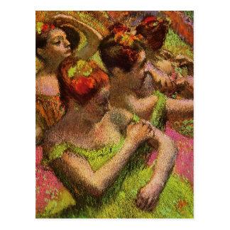 Degas Green Ballerinas Postcard