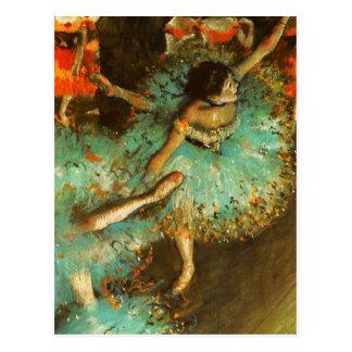 Degas Green Dancer Ballet Impressionist Postcard