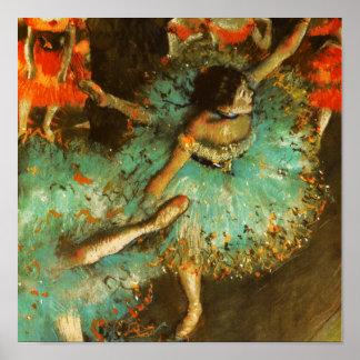 Degas Green Dancer Ballet Impressionist Print