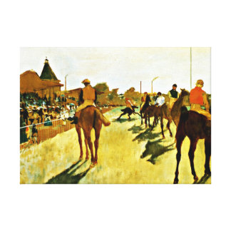 Degas: Racehorses Before the Stands Stretched Canvas Print