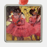 Degas - The Pink Dancers Square Metal Christmas Ornament
