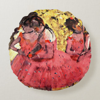 Degas - The Pink Dancers Round Pillow