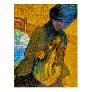 Degas - Vintage Fine Art - Mary Cassatt With Dog Postcard