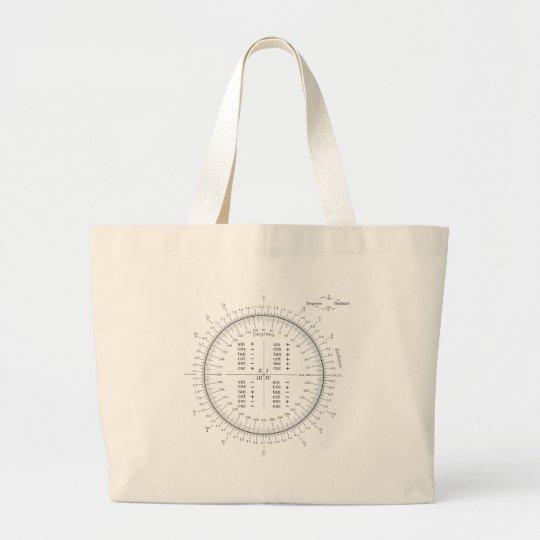 Degree and Radian Conversion Trigonometry Chart Large Tote Bag