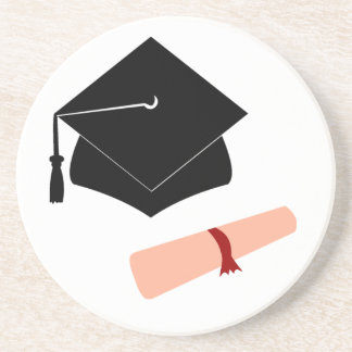 Degree Hat and Scroll Sandstone Coaster
