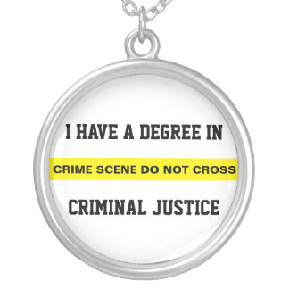 Degree in Criminal Justice Silver Plated Necklace
