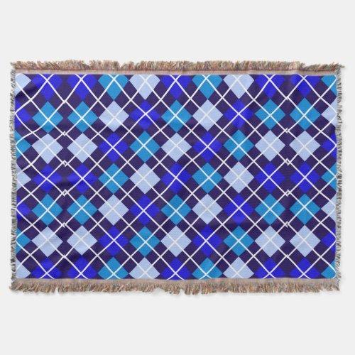 Degrees of Blue Argyle Throw Blanket