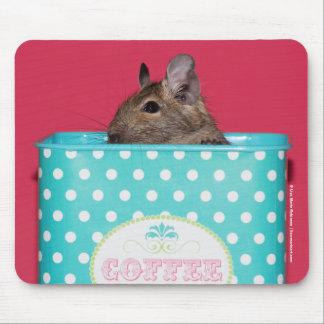Degu in a Polka Dot Coffee Tin Mousepad