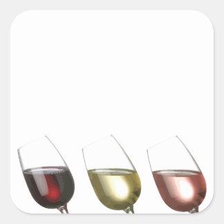 Degustación de vinos - 3 vidrios de vino pegatina cuadrada