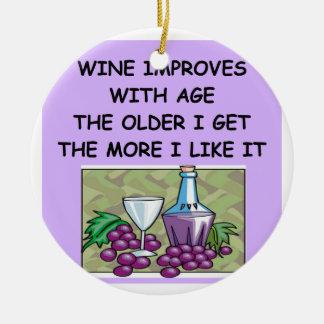 degustación de vinos adorno navideño redondo de cerámica