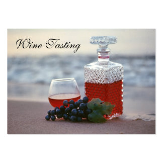 Degustación de vinos en la playa, viñedo del lago tarjetas de visita grandes