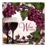 Degustación de vinos verde roja de las uvas del invitaciones personales