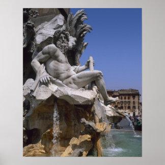 Dei Quattro Fiumi, plaza Navona, Roma de Fontana, Póster