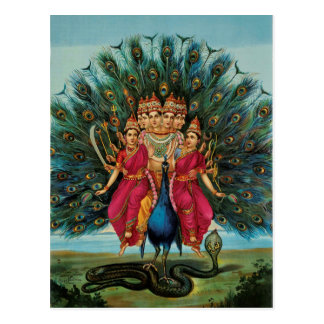 Deidad hindú de Murugan Kartikeyan Skanda Subrahma Tarjetas Postales