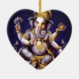 Deidad hindú del elefante asiático de Ganesh Adorno Navideño De Cerámica En Forma De Corazón