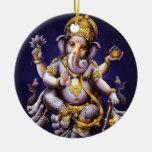 Deidad hindú del elefante asiático de Ganesh Adorno Navideño Redondo De Cerámica