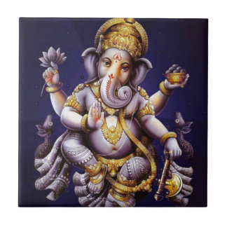 Deidad hindú del elefante asiático de Ganesh Azulejo Cuadrado Pequeño