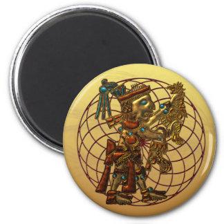 Deidad maya imán redondo 5 cm