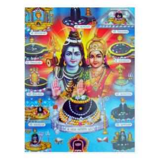 Deidades hindúes y diosas hermosas tarjeta postal