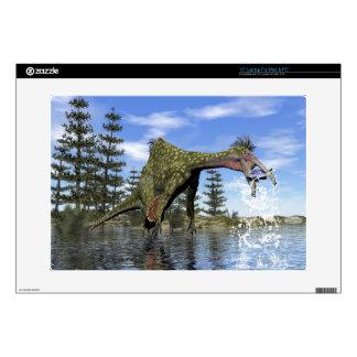Deinocheirus dinosaur fishing - 3D render Decals For Laptops