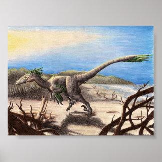 Deinonychus en la impresión de la playa póster