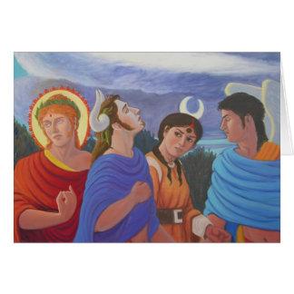 Deities Strolling Greeting Card