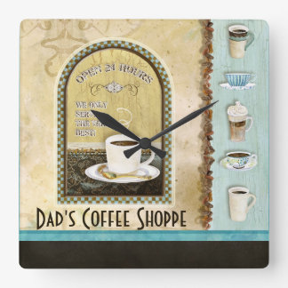 Deja' Brew Coffee Art Stacked Cups Mugs Caffeine Square Wall Clock