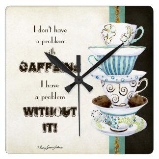 Deja' Brew Coffee Art Stacked Cups Mugs Caffeine Square Wall Clock
