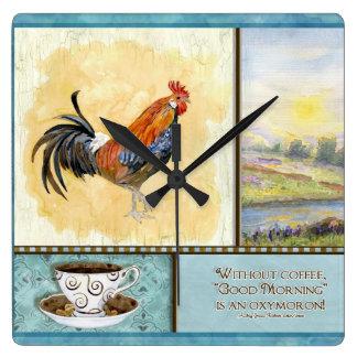 Deja Brew Coffee Cup n Saucer w Rooster Clock