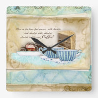 Deja Brew Coffee Cups, Candy and Cake Dessert Art Square Wall Clock