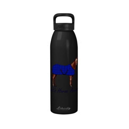 Deja el caballo alrededor de la manta azul de Brow Botellas De Agua Reutilizables