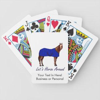 Deja el caballo alrededor de la manta azul de Brow Baraja Cartas De Poker