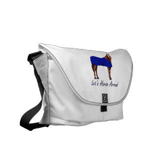 Deja el caballo alrededor de la manta azul de Brow Bolsa Messenger