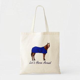 Deja el caballo alrededor de la manta azul de Brow Bolsa De Mano