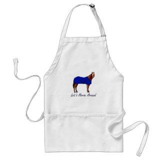 Deja el caballo alrededor de la manta azul de Brow Delantal