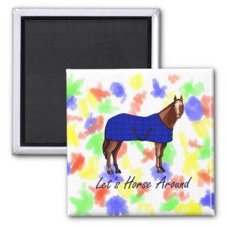 Deja el caballo alrededor de la manta azul de Brow Imán Cuadrado